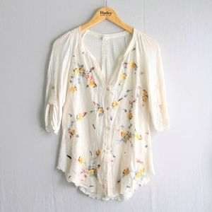 Anthropologie Tiny floral sheer blouse